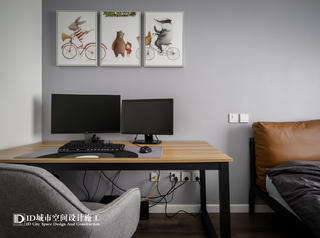 102㎡现代简约二居装修书桌设计图