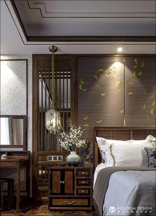 大户型中式风格装修床头柜设计图