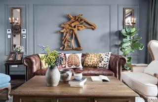 复古美式风格四居沙发背景墙装修效果图