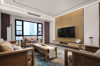 新中式风格三居电视背景墙装修效果图