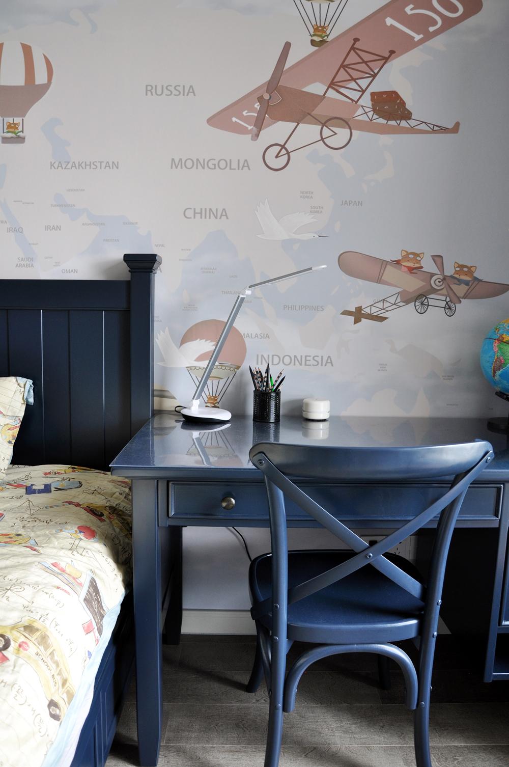 美式儿童房装修书桌设计图