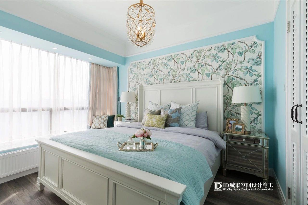 清新美式风三居卧室装修效果图