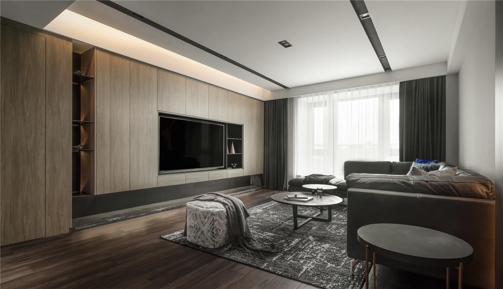 156㎡现代风格客厅电视墙装修效果图