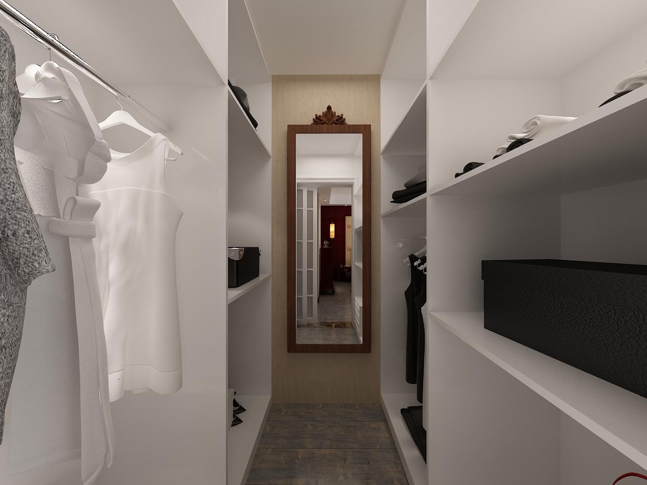 中式风格三居室装修衣帽间效果图