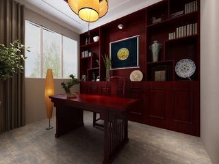 中式风格三居室书房装修效果图