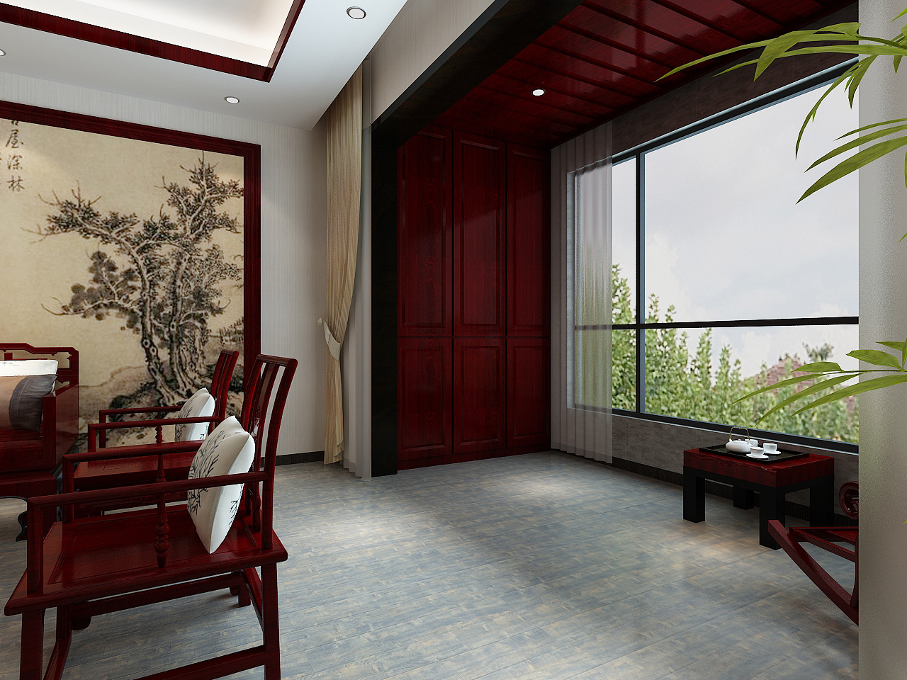 中式风格三居室阳台装修效果图