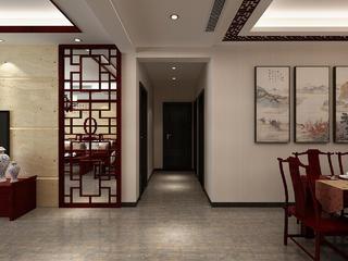 中式风格三居室过道装修效果图