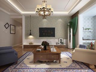 三居室美式风格电视背景墙装修效果图