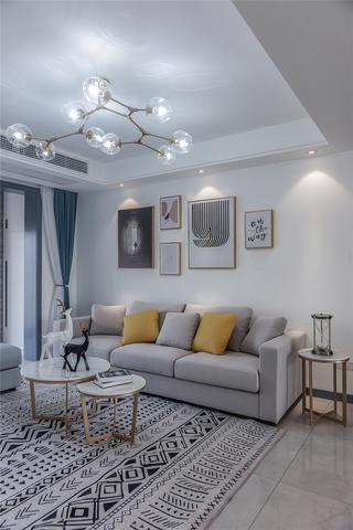 112㎡北欧现代风装修客厅沙发设计图