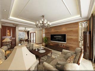 大户型美式风格装修电视背景墙设计图