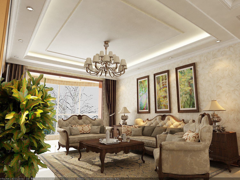 大户型美式风格客厅吊灯装修效果图