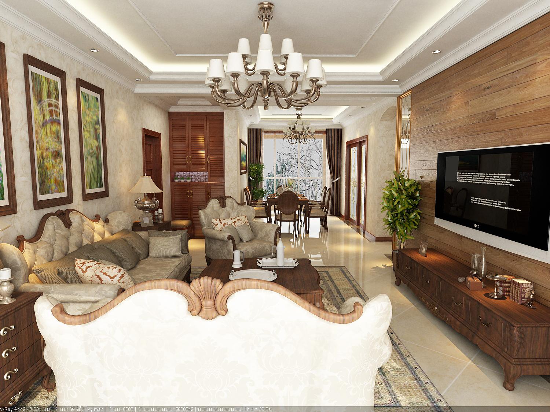大户型美式风格客厅装修效果图
