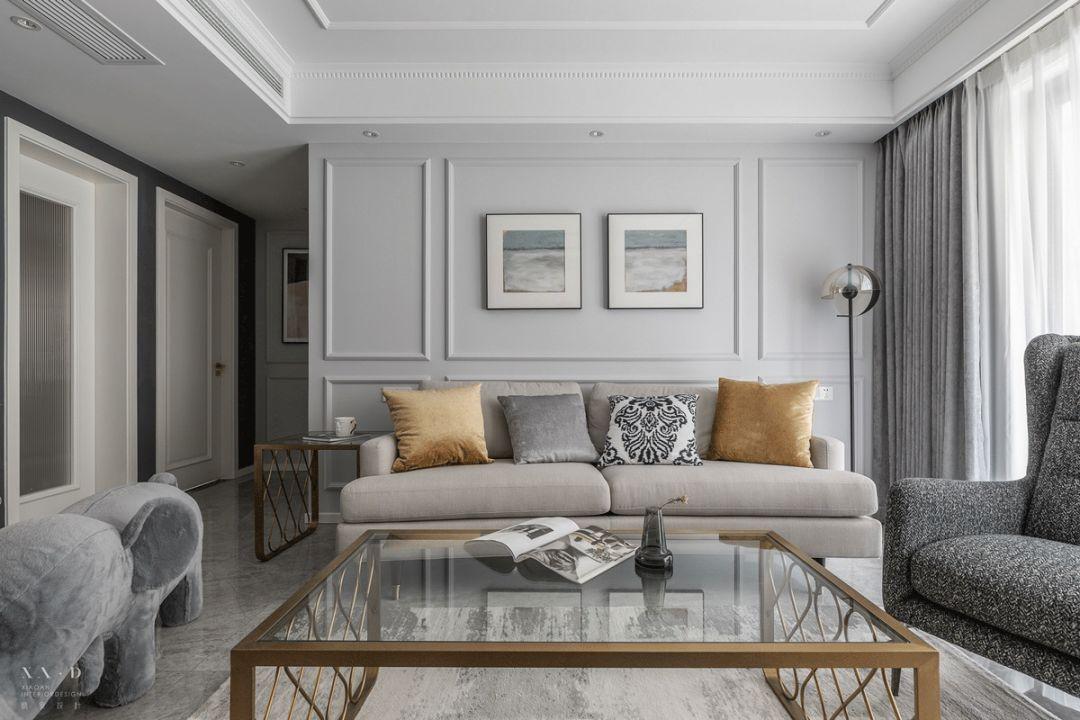 117㎡简美风格沙发背景墙装修效果图