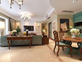 美式风格四居室客餐厅装修效果图