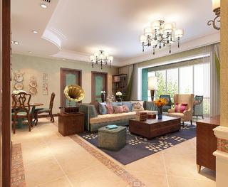 美式风格四居室客厅每日首存送20