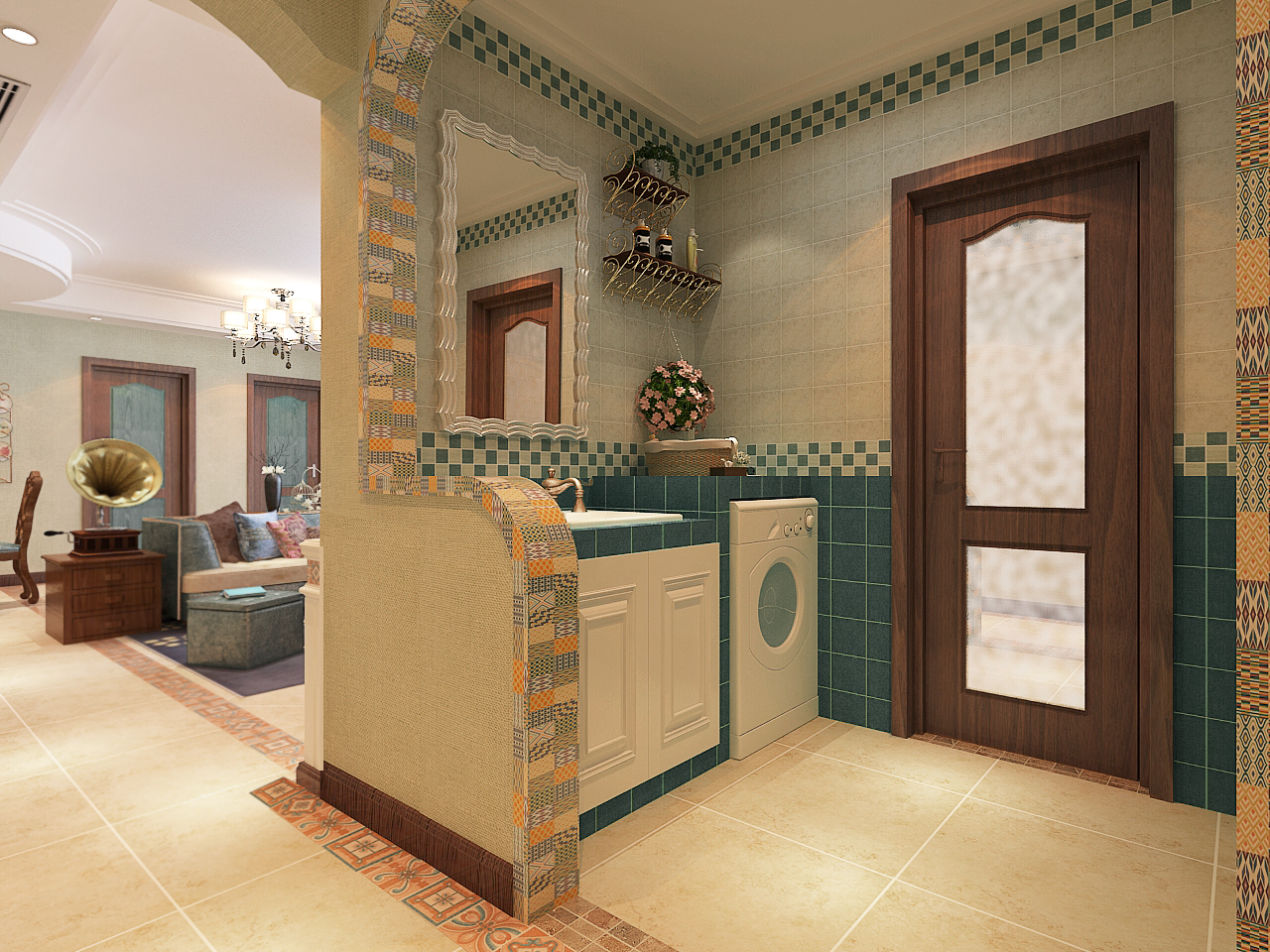 美式风格四居室洗手台装修效果图