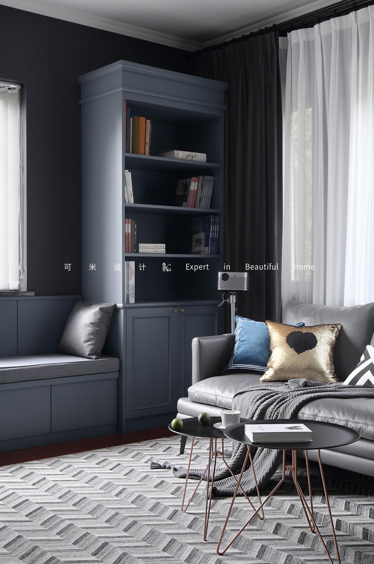110平米混搭风格装修书柜设计图