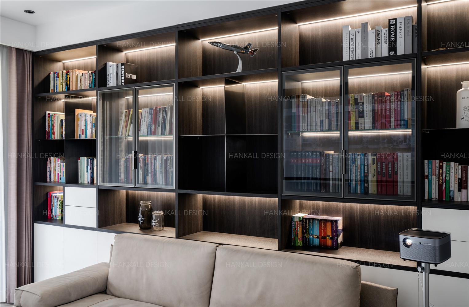 135㎡现代风格书柜墙装修效果图