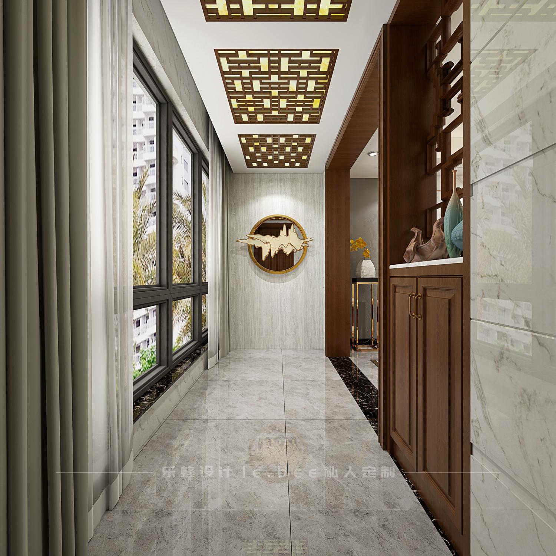 二居室中式风格玄关装修效果图