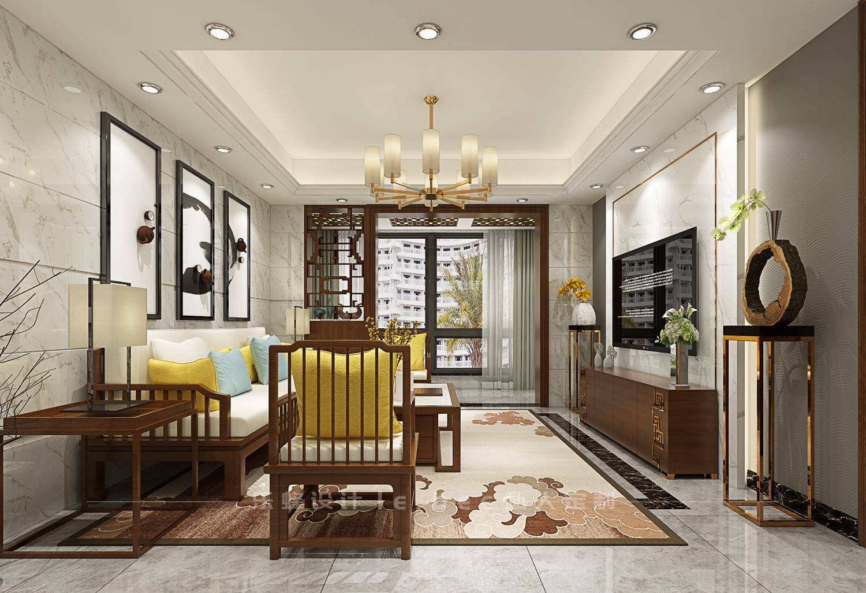 二居室中式风格客厅装修效果图