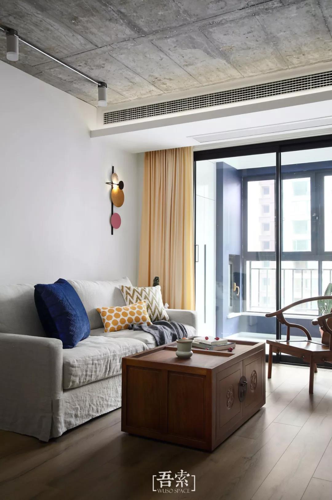 二居室混搭风格客厅装修效果图