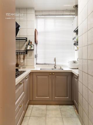 80㎡美式复古风装修厨房布局图