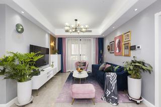 四居室现代轻奢风客厅装修效果图