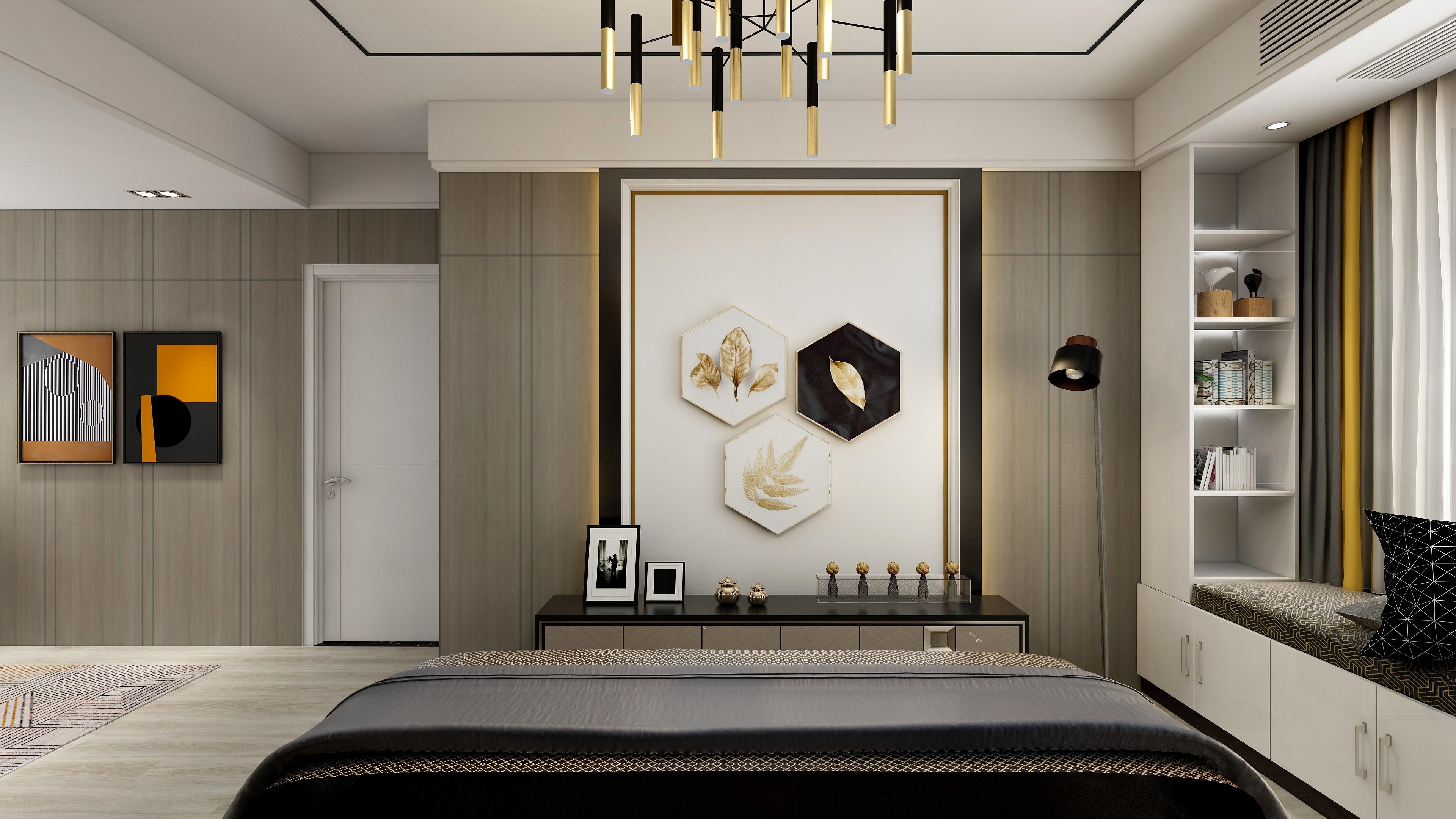 130㎡后现代风格卧室墙面装修效果图