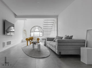 200平简约复式客厅装修效果图