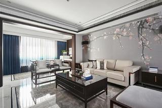 复式新中式四居客厅装修效果图