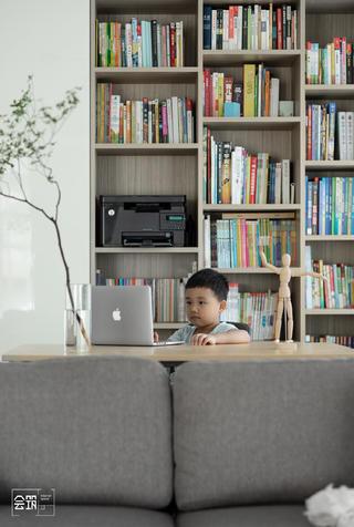 155平现代简约风格装修书柜设计图