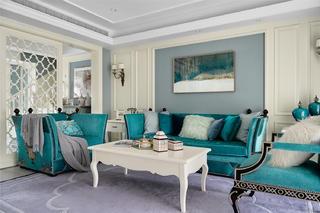 大户型现代法式混搭沙发背景墙装修效果图
