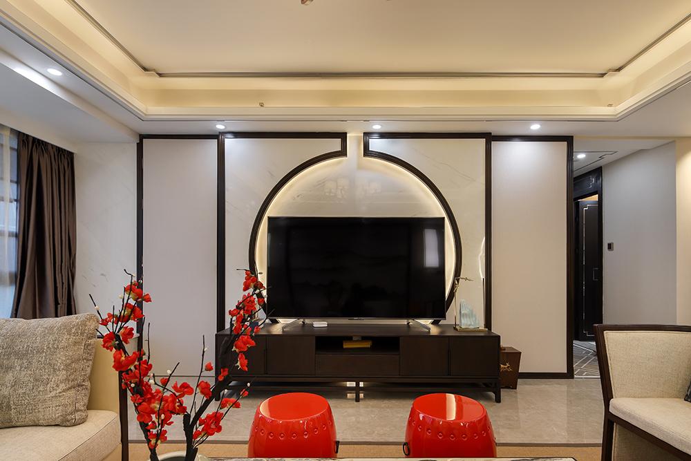 新中式风格三居室电视背景墙装修效果图