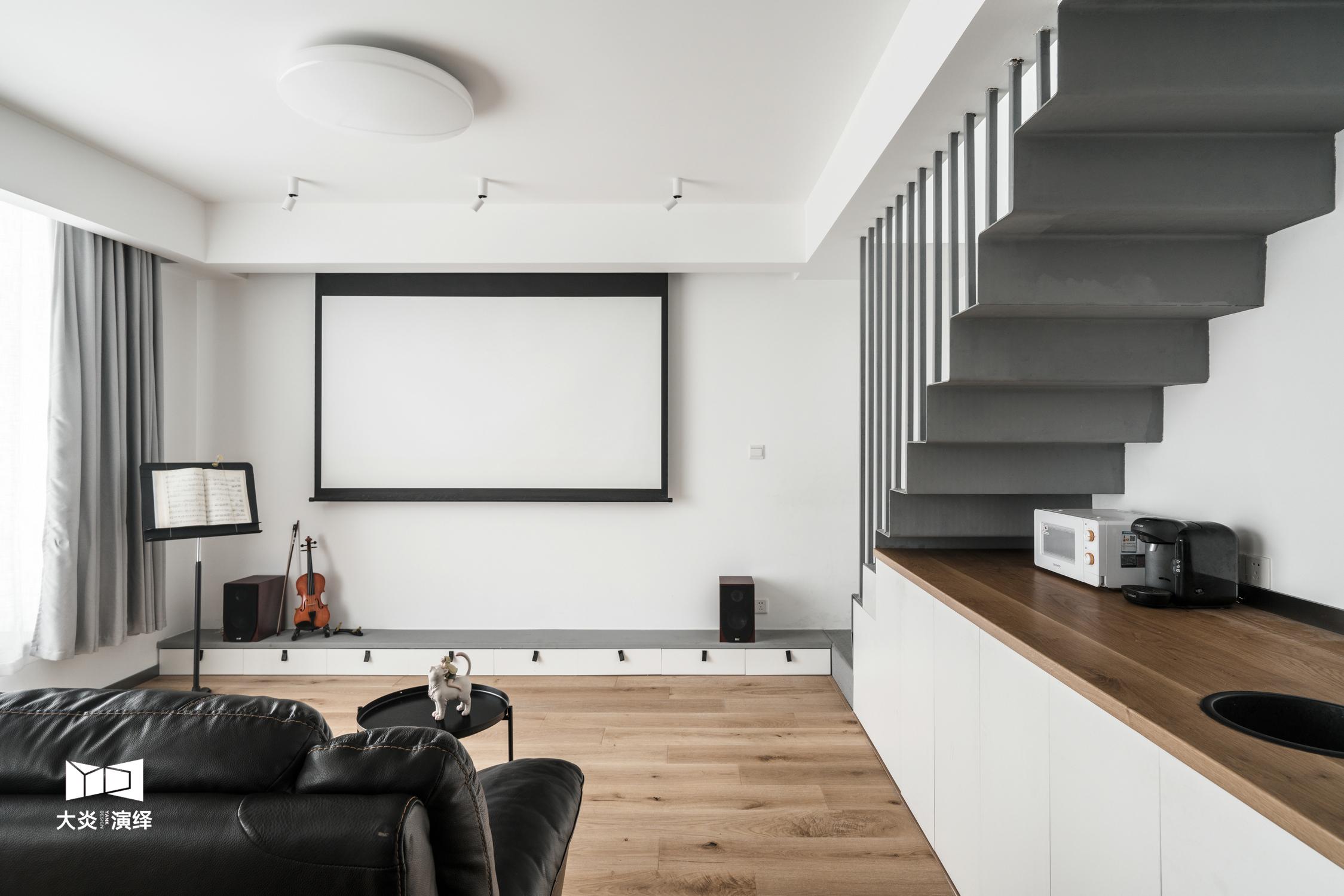 100㎡现代简约复式客厅装修效果图