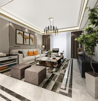 现代轻奢风格三居客厅装修效果图
