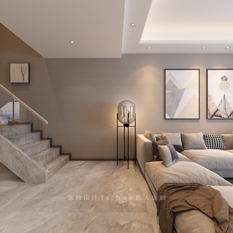 复式现代简约风沙发背景墙装修效果图