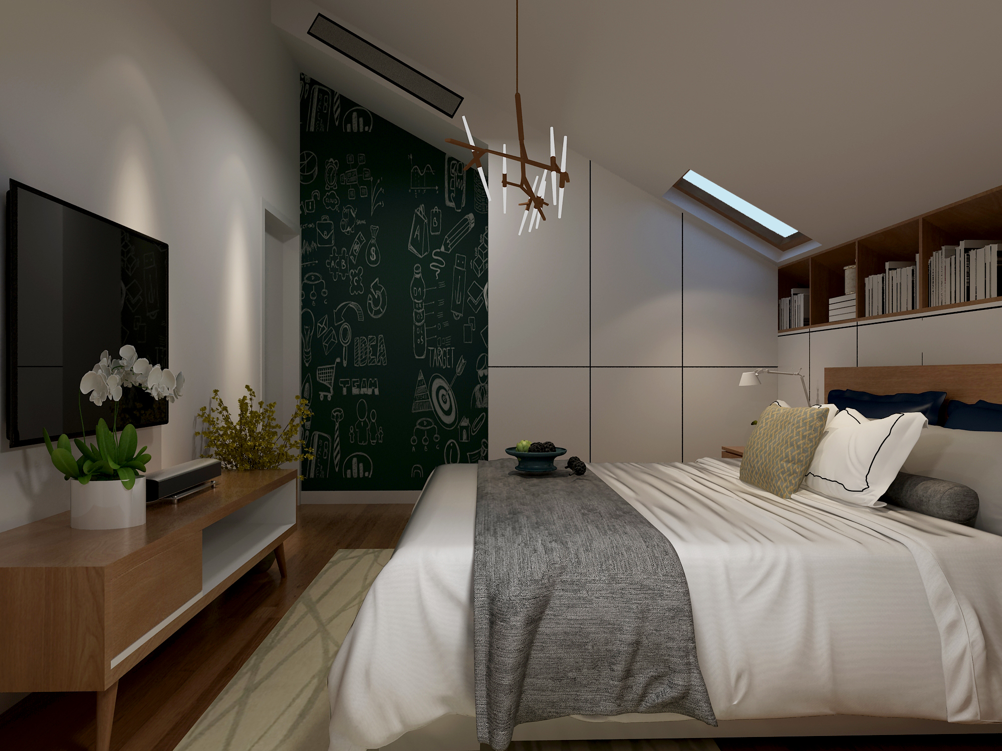 180㎡复式北欧风卧室装修效果图