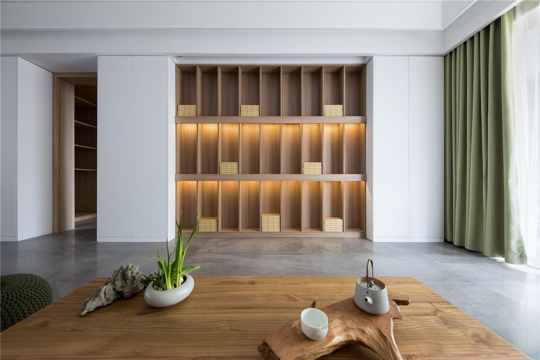 现代日式风格三居书柜背景墙装修效果图