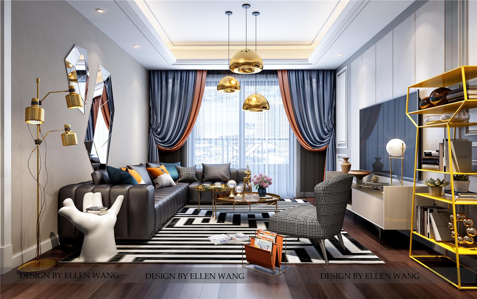 摩登时尚现代风客厅装修效果图