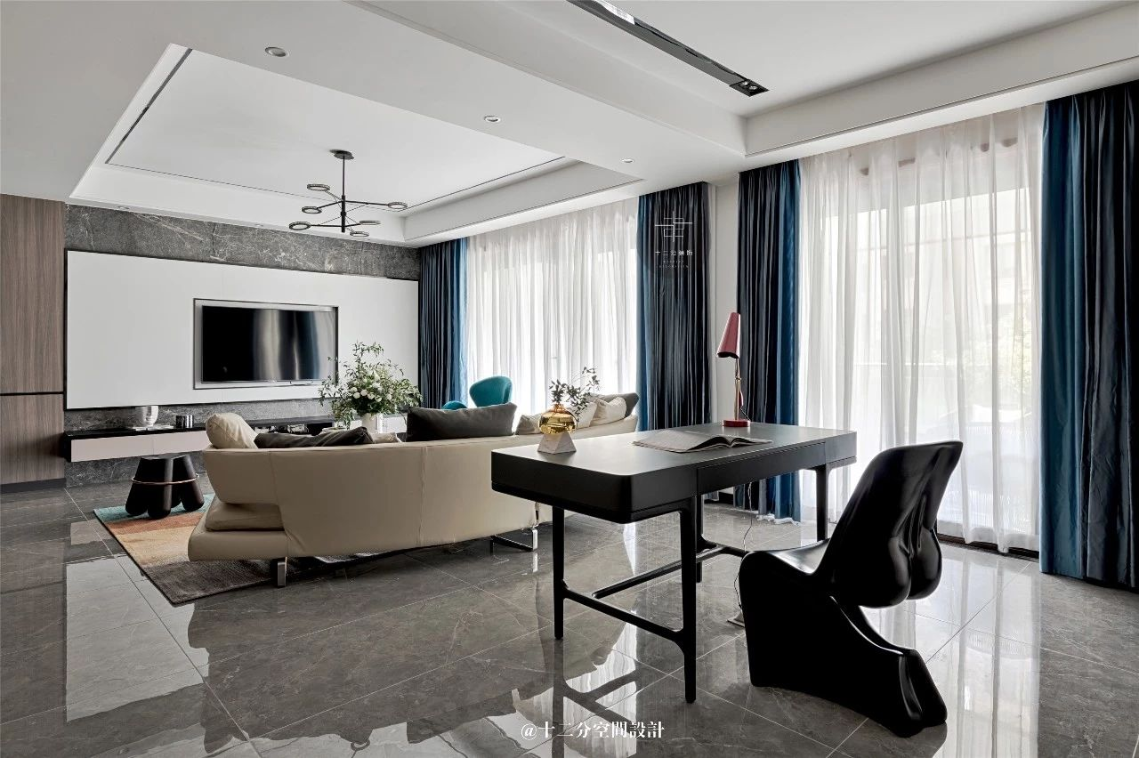 130㎡现代简约三居客厅装修效果图