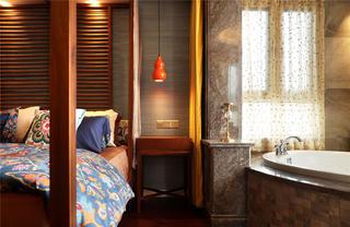 东南亚风格二居装修床头一角