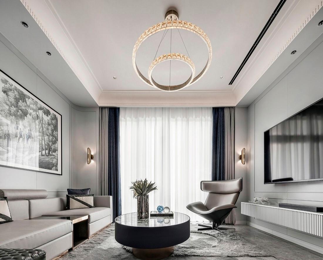 现代风格366㎡私人别墅-客厅效果图2