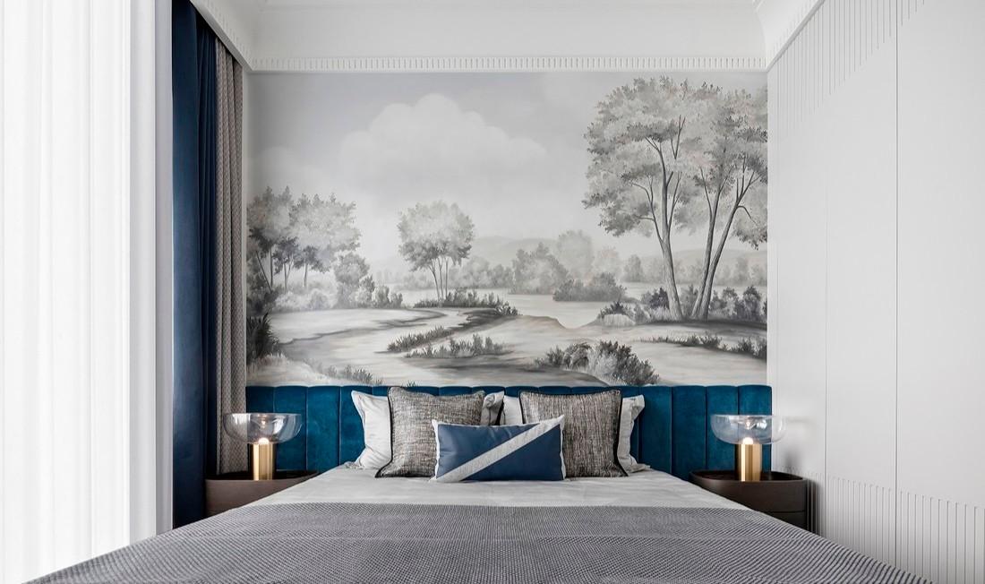 现代风格366㎡私人别墅-卧室效果图