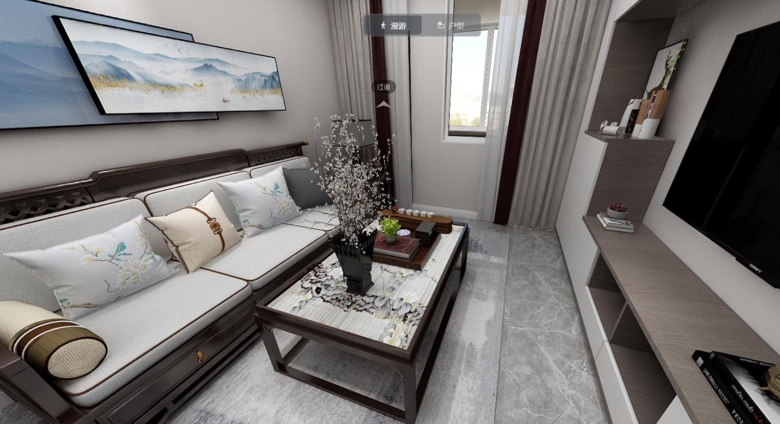 上海装修案例 80㎡三房新古典现代中式风